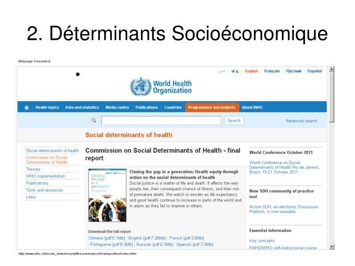 2. Déterminants Socioéconomique