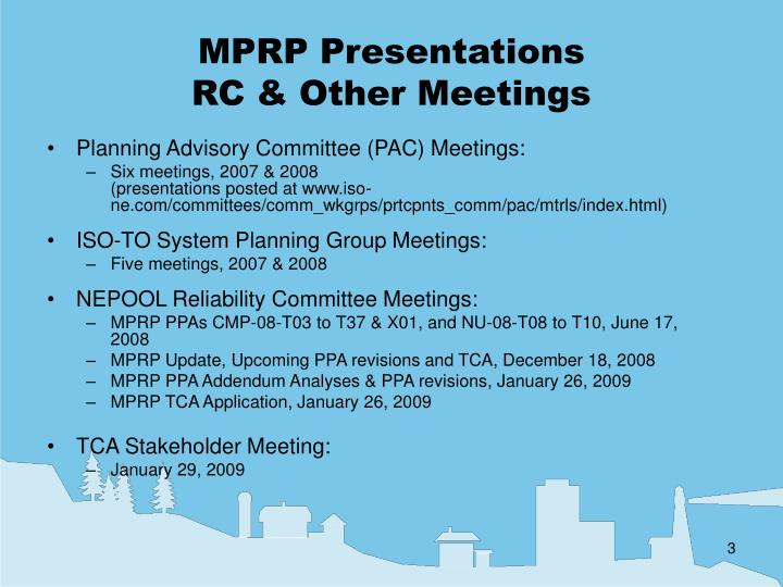 Mprp presentations rc other meetings