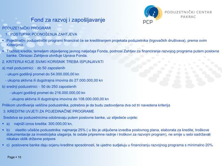 Fond za razvoj i zapošljavanje