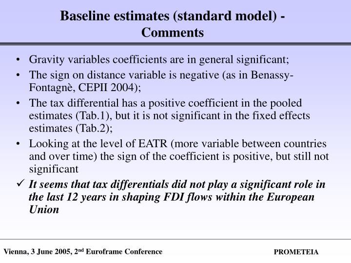 Baseline estimates (standard model) -