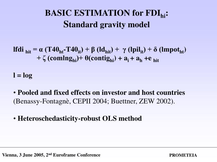 BASIC ESTIMATION for FDI