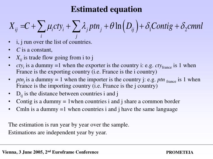 Estimated equation