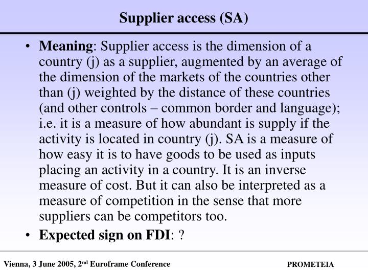Supplier access (SA)