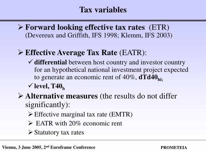 Tax variables