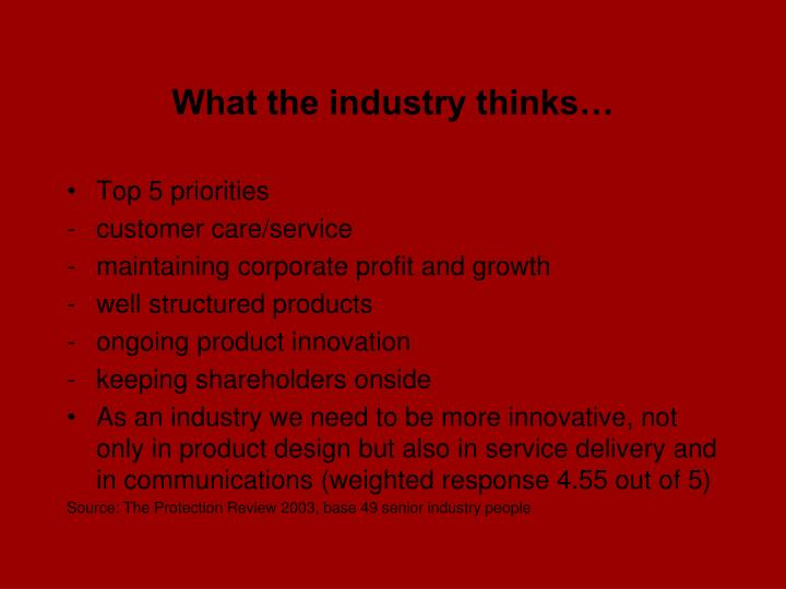 What the industry thinks…