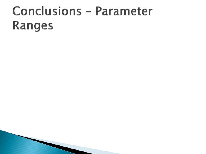 Conclusions – Parameter Ranges