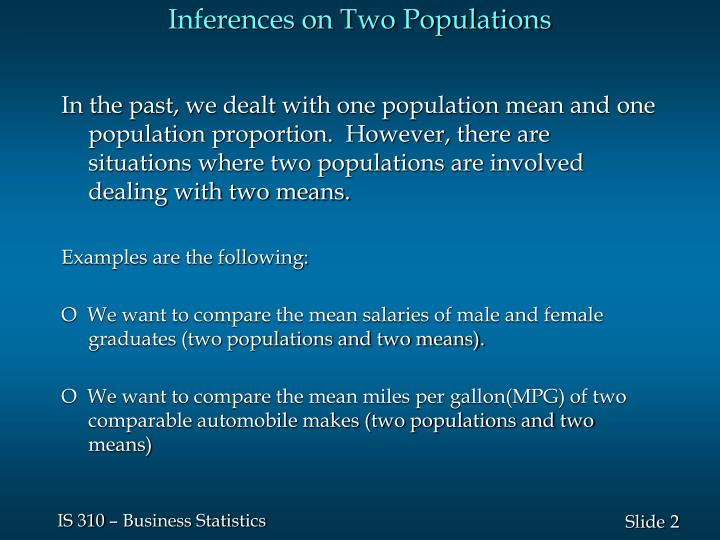Inferences on two populations