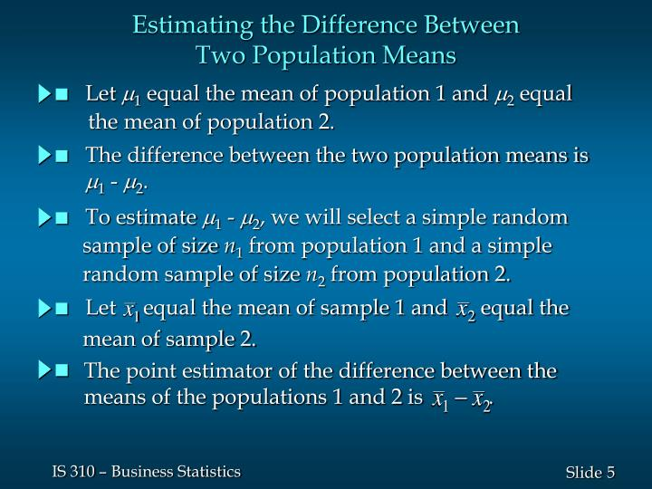 Let     equal the mean of sample 1 and      equal the