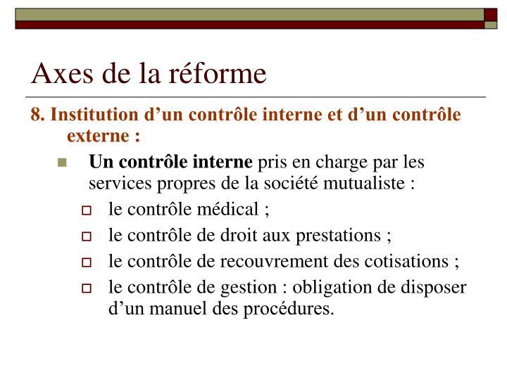 Axes de la réforme