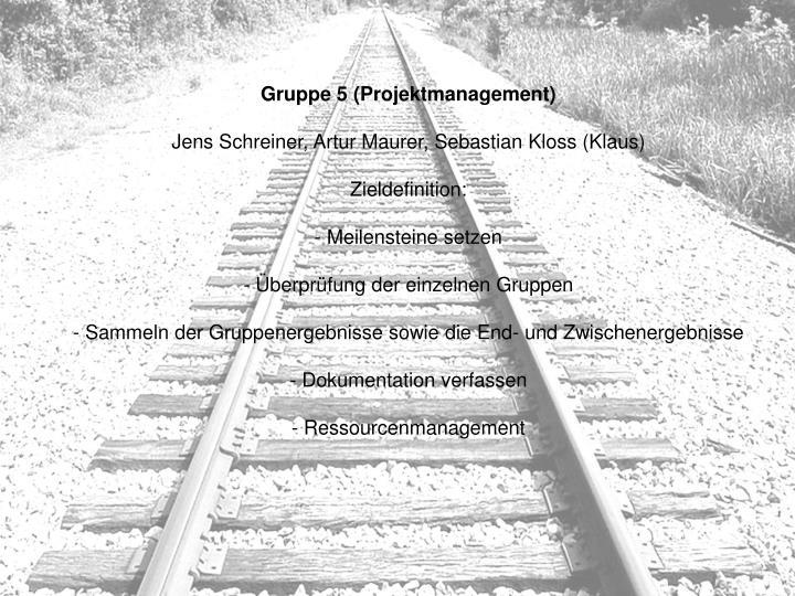 Gruppe 5 (Projektmanagement)