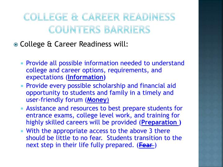 College & career Readiness Counters Barriers