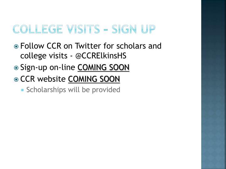 College Visits – sign up