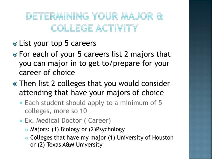 Determining your major & College Activity