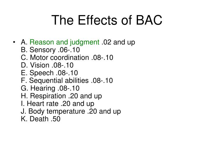The Effects of BAC