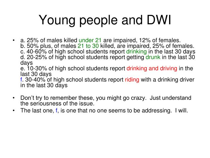 Young people and DWI