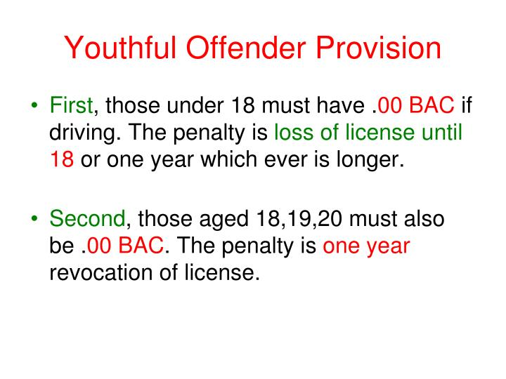 Youthful Offender Provision