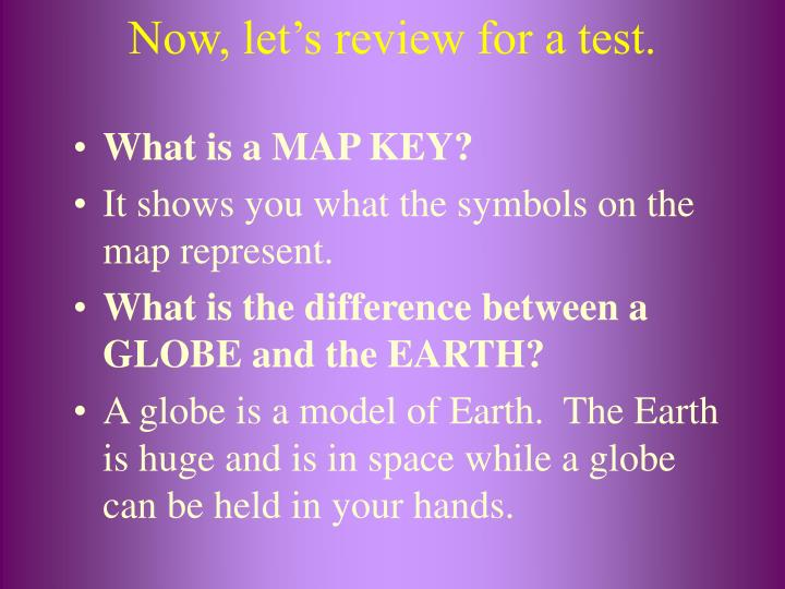 Now, let's review for a test.