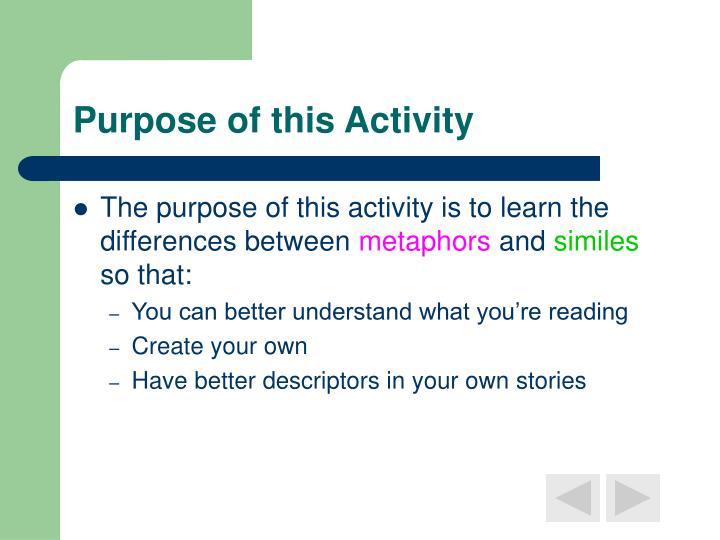 Purpose of this activity