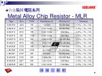 metal alloy chip resistor mlr