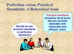 perfection versus practical standards a behavioral issue1