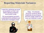 reporting materials variances