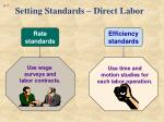 setting standards direct labor