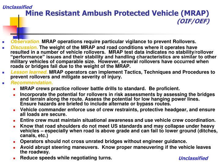 Mine resistant ambush protected vehicle mrap oif oef