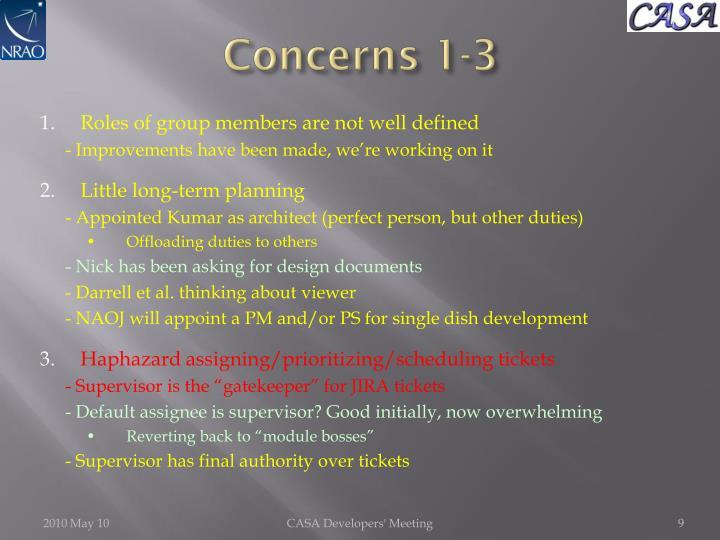Concerns 1-3