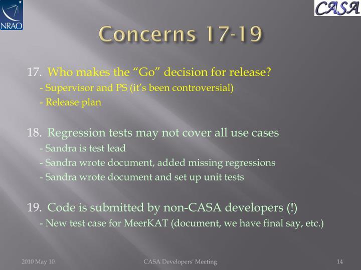 Concerns 17-19