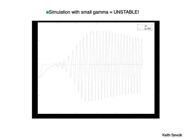 Simulation with small gamma = UNSTABLE!
