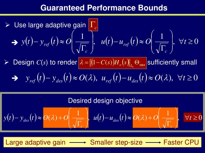 Large adaptive gain             Smaller step-size           Faster CPU