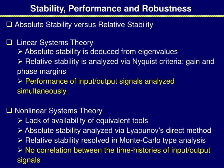 Stability, Performance and Robustness