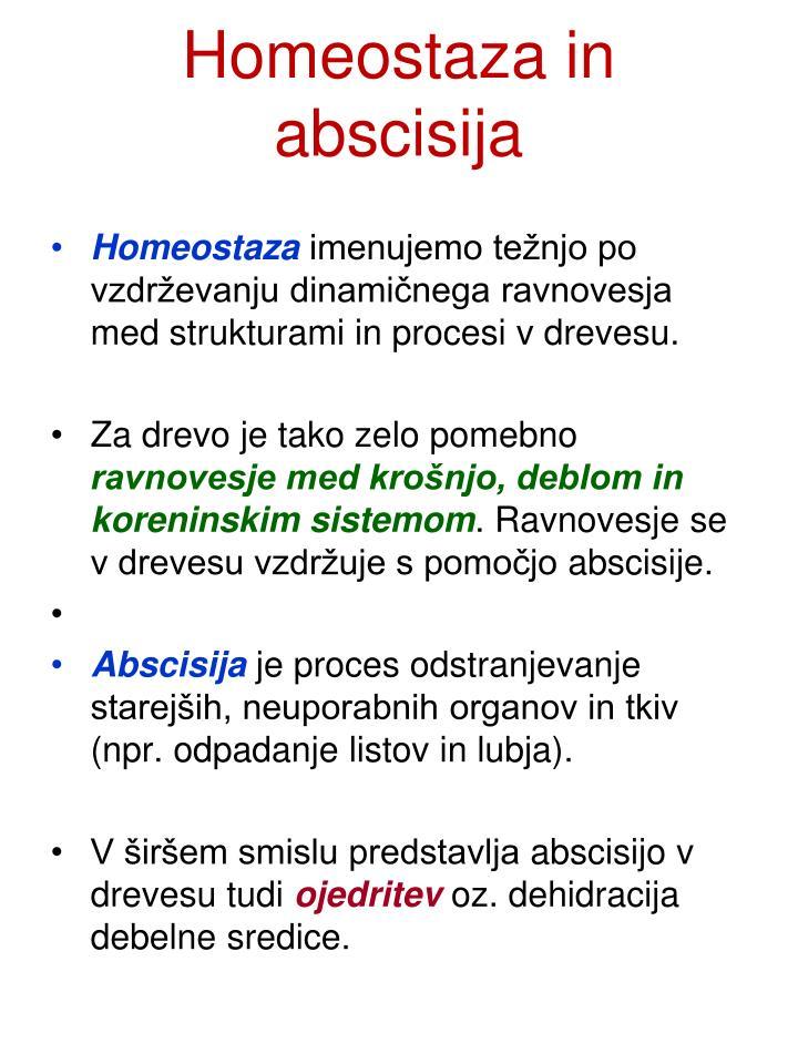 Homeostaza in abscisija