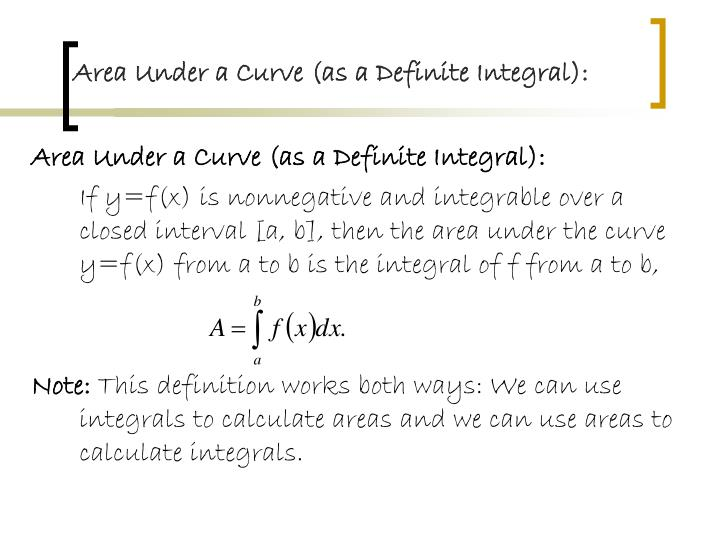 Area Under a Curve (as a Definite Integral):