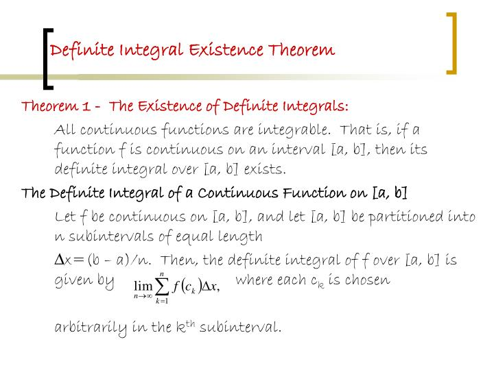 Definite Integral Existence Theorem
