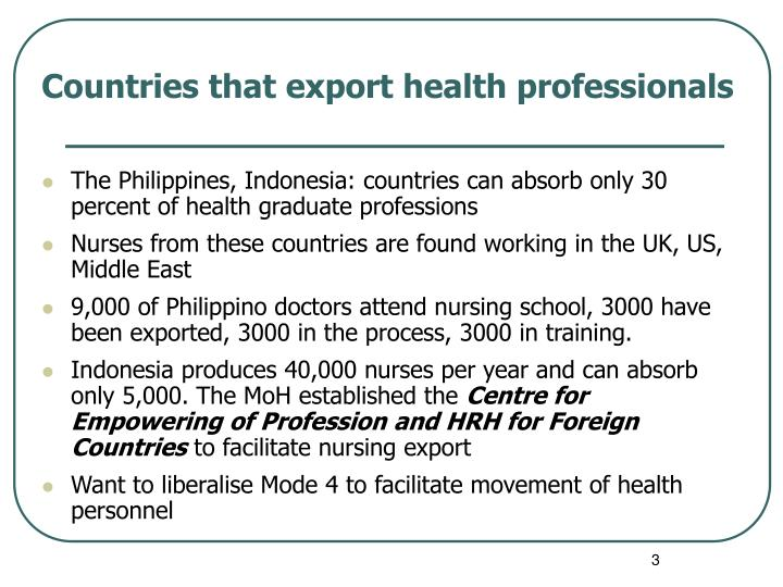 Countries that export health professionals