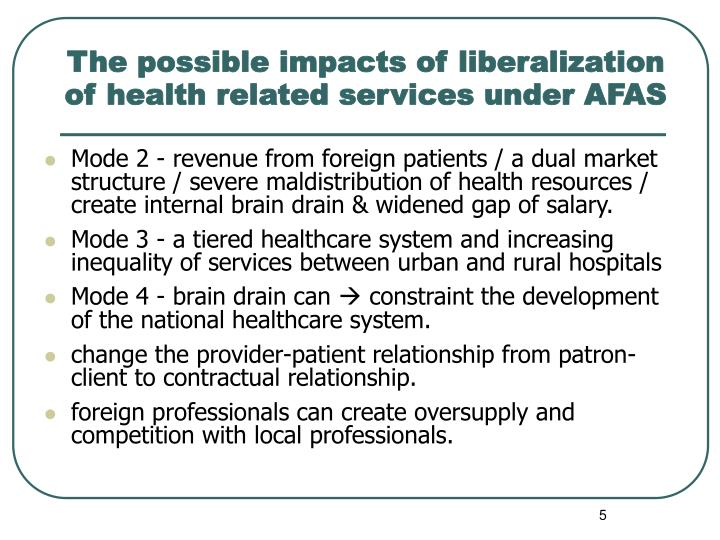 The possible impacts of liberalization