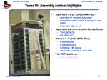 tower 15 assembly and test highlights