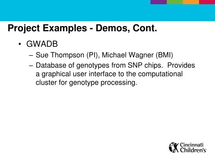Project Examples - Demos, Cont.