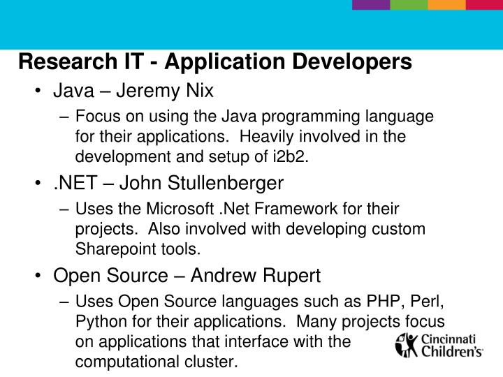 Research it application developers