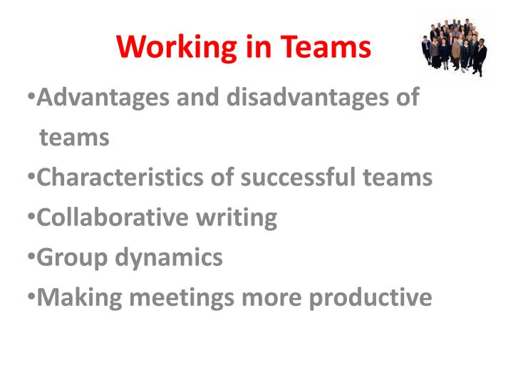 working in teams n.