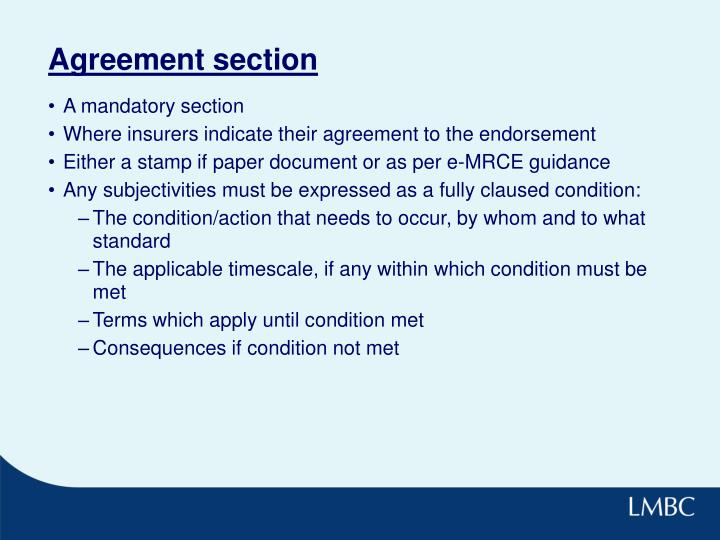 Agreement section