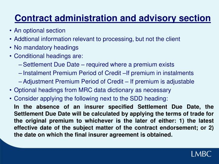 Contract administration and advisory section