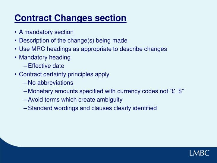 Contract Changes section