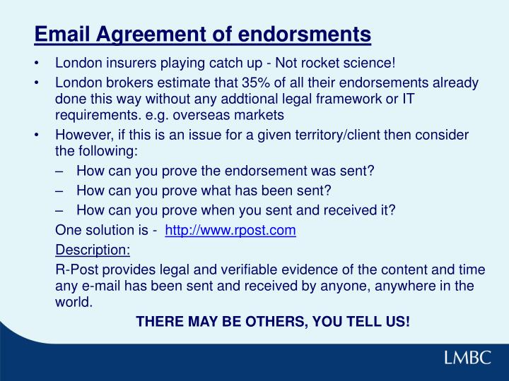 Email Agreement of endorsments