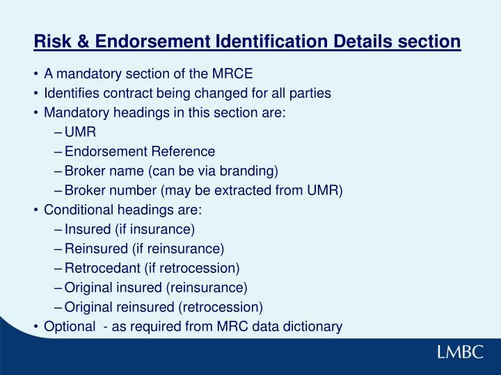 Risk & Endorsement Identification Details section