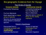 bio geographic evidence from the voyage