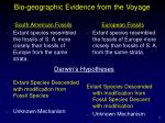 bio geographic evidence from the voyage1