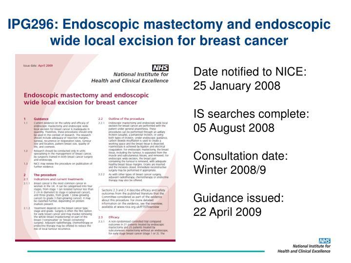 IPG296: Endoscopic mastectomy and endoscopic
