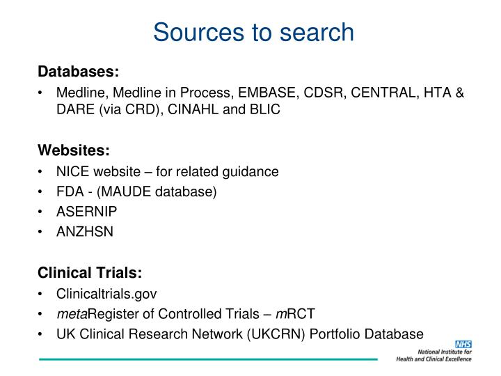 Sources to search